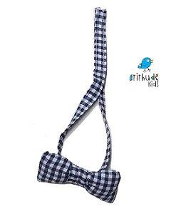 Gravata Borboleta - xadrez azul escuro