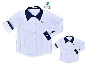 Kit camisa Antony - Tal mãe, tal filho (a) (duas peças) | Branca com detalhe azul Marinho