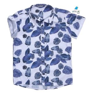 Camisa Ben - Estampa Folhas Azul