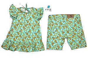 Conjunto Banana - Vestido e Bermuda