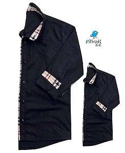 Kit camisa Christian - Tal pai, tal filho (duas peças)  | Preta com detalhes em xadrez