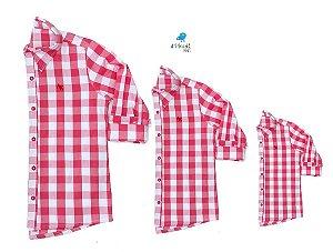 Kit camisa Cadú - Família (três peças) | Xadrez vermelha | Fazendinha