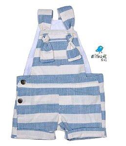 Jardineira Matheus - Azul Listrado | Linho