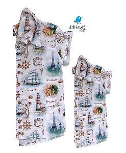 Kit camisa Nico - Tal pai, tal filho (duas peças)  | Estampa Náutica | Fundo do mar