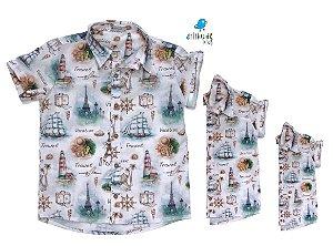 Kit camisa Nico - Família (três peças) | Estampada | Náutica | Fundo do mar