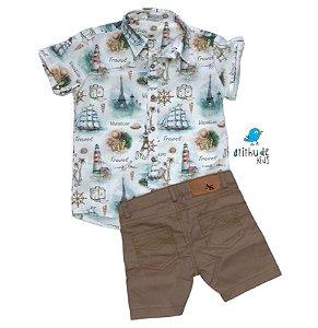 Conjunto Nico - Camisa Estampada e Bermuda Bege (duas peças)