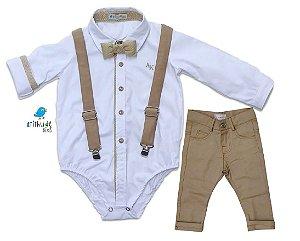 Conjunto Rocco - Camisa Branca e Calça Bege (quatro peças) | Batizado