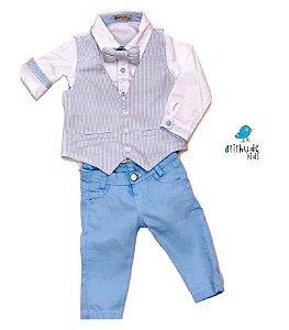 Conjunto Joaquim - Camisa Branca e Calça Azul Bebê (quatro peças) | Batizado