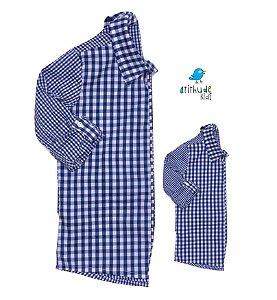 Kit camisa Cadú - Tal pai, tal filho (duas peças) | Xadrez Azul Marinho | Fazendinha