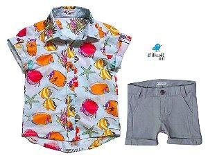 Conjunto Vavá - Camisa Peixinhos e Bermuda Cinza (duas peças)