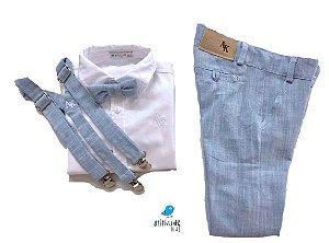Conjunto Fausto - Calça Alfaiataria Linho, camisa e acessórios (4 peças) | Linho Azul Claro