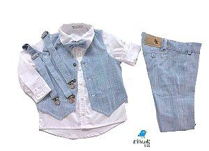Conjunto Fausto - Calça Alfaiataria Linho, camisa, colete e acessórios (5 peças) | Linho Azul Claro