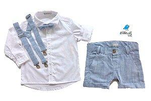 Conjunto Fausto - Bermuda Alfaiataria Linho, camisa e acessórios (4 peças) | Linho Azul Claro