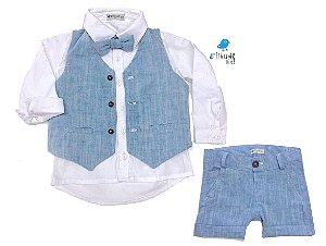 Conjunto Fausto - Bermuda Alfaiataria Linho, camisa, colete e gravata (4 peças) | Linho Azul Claro