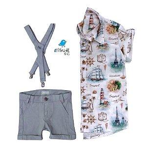 Conjunto Nico - Camisa, Bermuda e suspensório (três peças) | Marinheiro |Fundo do mar