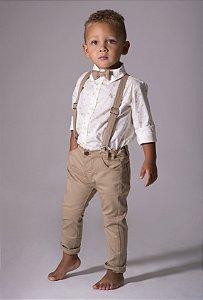 Conjunto Evair - Camisa Coroa e Calça Bege (quatro peças) | Pequeno Príncipe