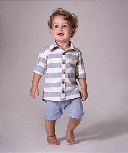 Camisa Matheus - Azul  Claro Listrada | Linho