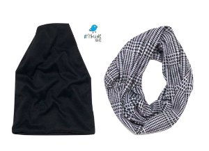 Kit Scarf e Touca - Preto e Estampado