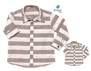 Kit camisa Matheus - Tal pai, tal filho (duas peças) | Linho | Bege