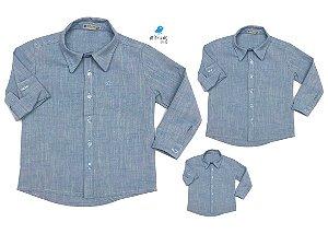 Kit camisa Fausto - Azul | Família (três peças) | Manga Longa | Linho