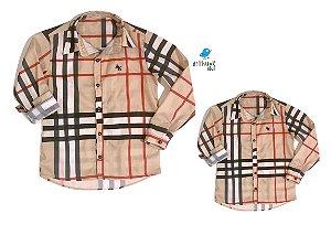 Kit camisa Rafael - Tal pai, tal filho (duas peças)   Xadrez Bege
