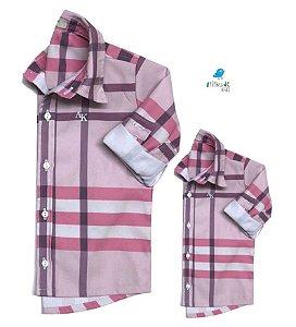 Kit camisa Rafael - Tal pai, tal filho (duas peças) | Xadrez Rosa
