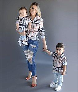 Kit Camisa Rafael - Tal mãe, tal filho  (duas peças) | Xadrez Bege