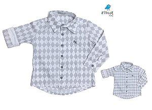 Kit Camisa Gael - Tal mãe, tal filho (a) (duas peças) | Cinza losango