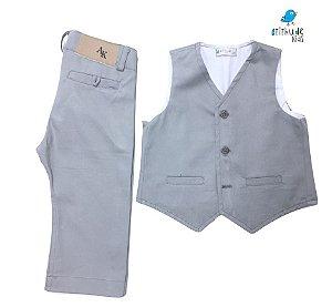 Conjunto Fabricio - Cinza Claro (colete e calça)