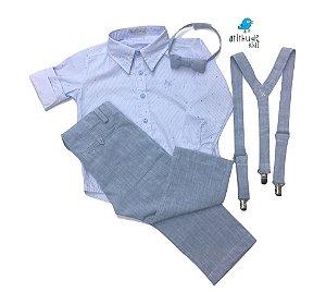 Conjunto Rodrigo - Camisa Poá Azul e Calça de linho Azul Claro (quatro peças) | Linho