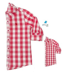 Kit Camisa Cadú - Tal mãe, tal filho (a) (duas peças) | Xadrez Vermelho