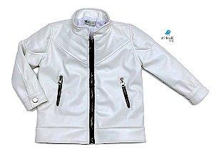 Jaqueta de couro vegetal Patrícia - Branca | Com forro