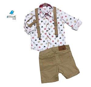 Conjunto Meu Mickey - Camisa  e Bermuda  (quatro peças) | Mickey | Safari