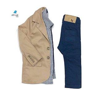 Conjunto Alexandre - Camisa Xadrez, calça e blazer  (três peças) |  Fazendinha