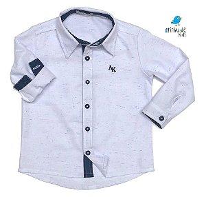 Camisa  Fil - Branca com estampada e detalhes azul marinho