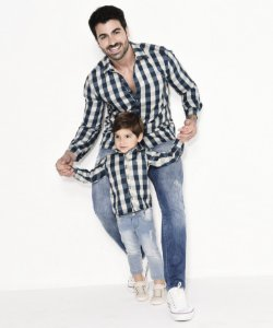 Kit camisa Tom - Tal pai, tal filho (duas peças) | Xadrez Verde e Bege