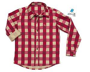 Camisa Tom - Xadrez vermelha e bege | Fazendinha