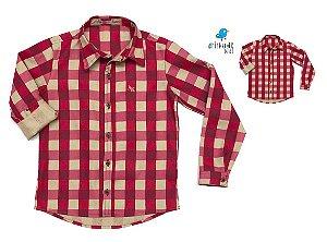 Kit camisa Tom - Tal pai, tal filho (duas peças) | Xadrez Vermelha e Bege