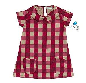 Vestido Tina - Xadrez Vermelha e Bege | Fazendinha