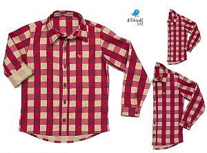 Kit camisa Tom  - Vermelha | Família (três peças) | Manga Longa | Fazendinha