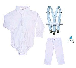 Conjunto Antony - Camisa Branca e Calça Branca  (quatro peças) | Batizado