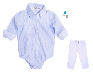 Conjunto Davi - Camisa Listrada Azul e Calça Branca (duas peças) | Batizado