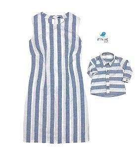 Conjunto Matheus  - Mãe e filho | Vestido e camisa | Linho