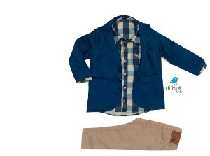 Conjunto Tom - Camisa Xadrez, blazer sarja e Calça Bege  (três peças)