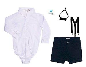 Conjunto Antony - Camisa Branca e Bermuda Preta (quatro peças) | Preto