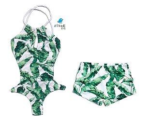 Kit Mãe e Filho - Maiô e sunga Folhas Verde