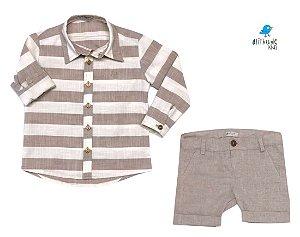 Conjunto Matheus - Camisa e Bermuda Bege (duas peças) | Linho
