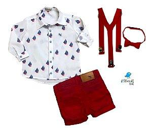 Conjunto Theo - Camisa e Bermuda Vermelha  (quatro peças) | Barco