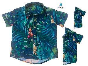 Kit camisa Henry - Azul | Família (três peças) | Manga Curta  | Viscolinho