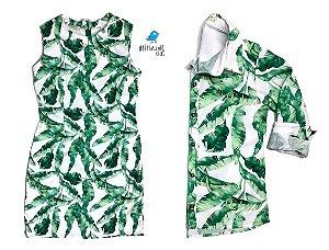 Conjunto Dado  - Mãe e filho | Vestido e camisa |  Folhas